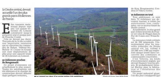 Les éoliennes… Source : Est Républicain du 26 septembre 2014